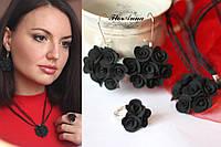 """""""Элегантный чёрный"""" комплект авторских украшений (серьги+кулон+кольцо). Красивый подарок девушке , фото 1"""