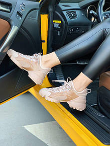 Женские кроссовки Christian Dior бежевые и белые из натуральной кожи