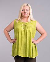 Блуза салатовая, батал, размер свободный, фото 1