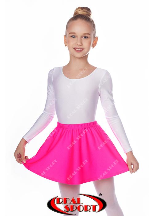 Юбка для танцев и гимнастики розовая GM050023 (эластан, р-р 2-М, рост 98-146 см)