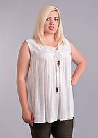 Блуза белая, батал, размер свободный