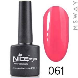 NICE Гель-лак черный флакон Тон 061 красно розовая эмаль, фото 2