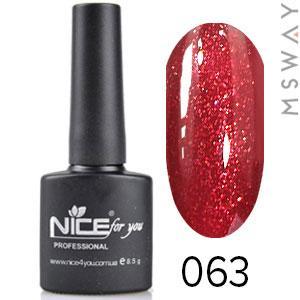 NICE Гель-лак черный флакон Тон 063 темно красный мелкий песок
