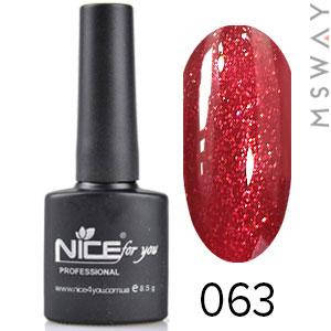 NICE Гель-лак черный флакон Тон 063 темно красный мелкий песок, фото 2