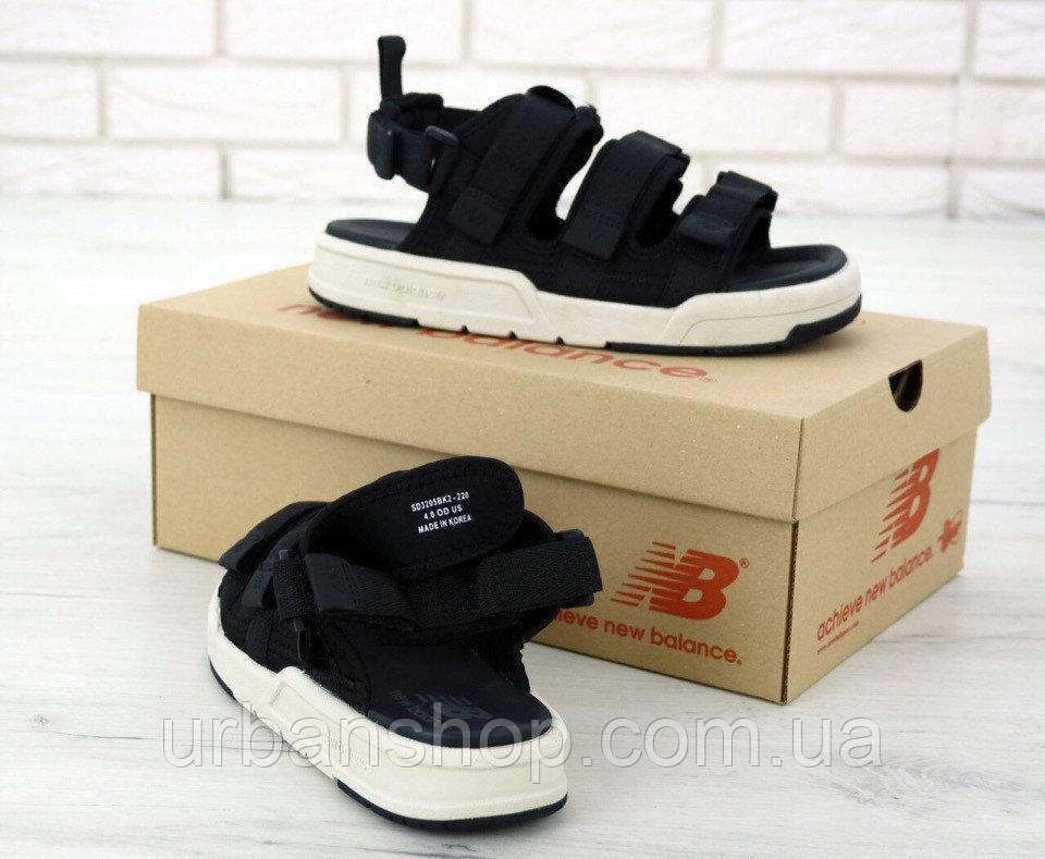 Чоловічі сандалії босоніжки New Balance black textile sandals. ТОП Репліка ААА класу.