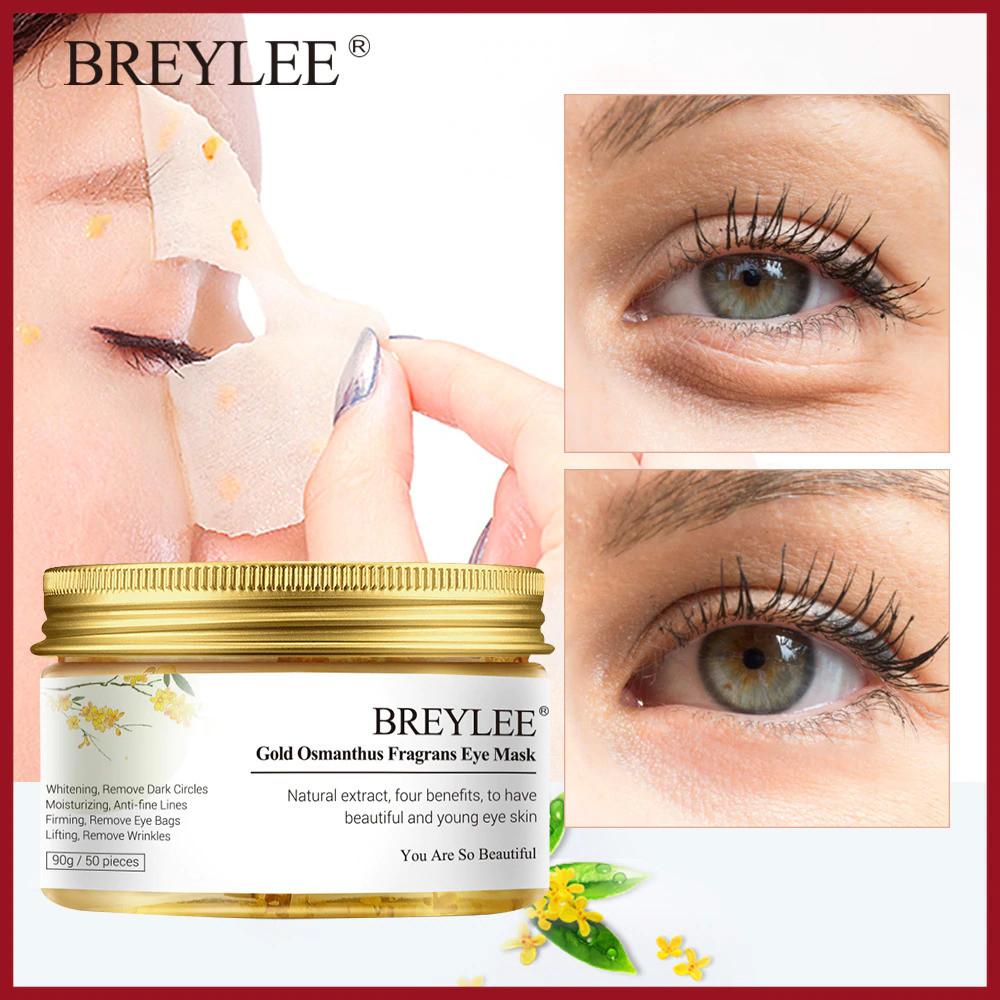 Патчи для глаз BREYLEE  питание + увлажнение + от темных кругов и отеков с цветком золотого османтуса 50 шт