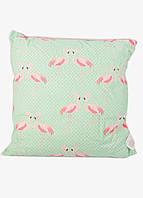 "Подушка  ""Фламинго"" Meradiso 45х45см Светло-зеленый, Розовый"