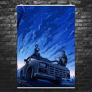 """Плакат """"Жизнь - странная штука, Life Is Strange, на капоте"""". Размер 60x42см (A2). Глянцевая бумага"""