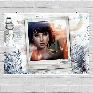 "Плакат ""Жизнь - странная штука, Life Is Strange, фотография на рисунке"". Размер 60x42см (A2). Глянцевая бумага"