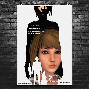 "Постер ""Жизнь - странная штука"", Life Is Strange, коллаж-силуэт. Размер 60x42см (A2). Глянцевая бумага"