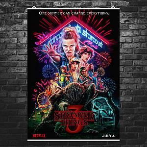 Постер Stranger Things 3, Очень Странные Дела 3. Размер 60x43см (A2). Глянцевая бумага