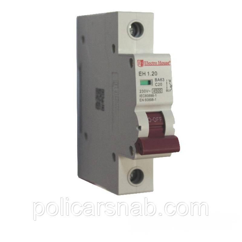 ElectroHouse Автоматический выключатель 1P 20A EH-1.20