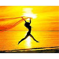 "Картина по номерам, картина-раскраска ""Свобода на пляже""  40Х50см VP895"