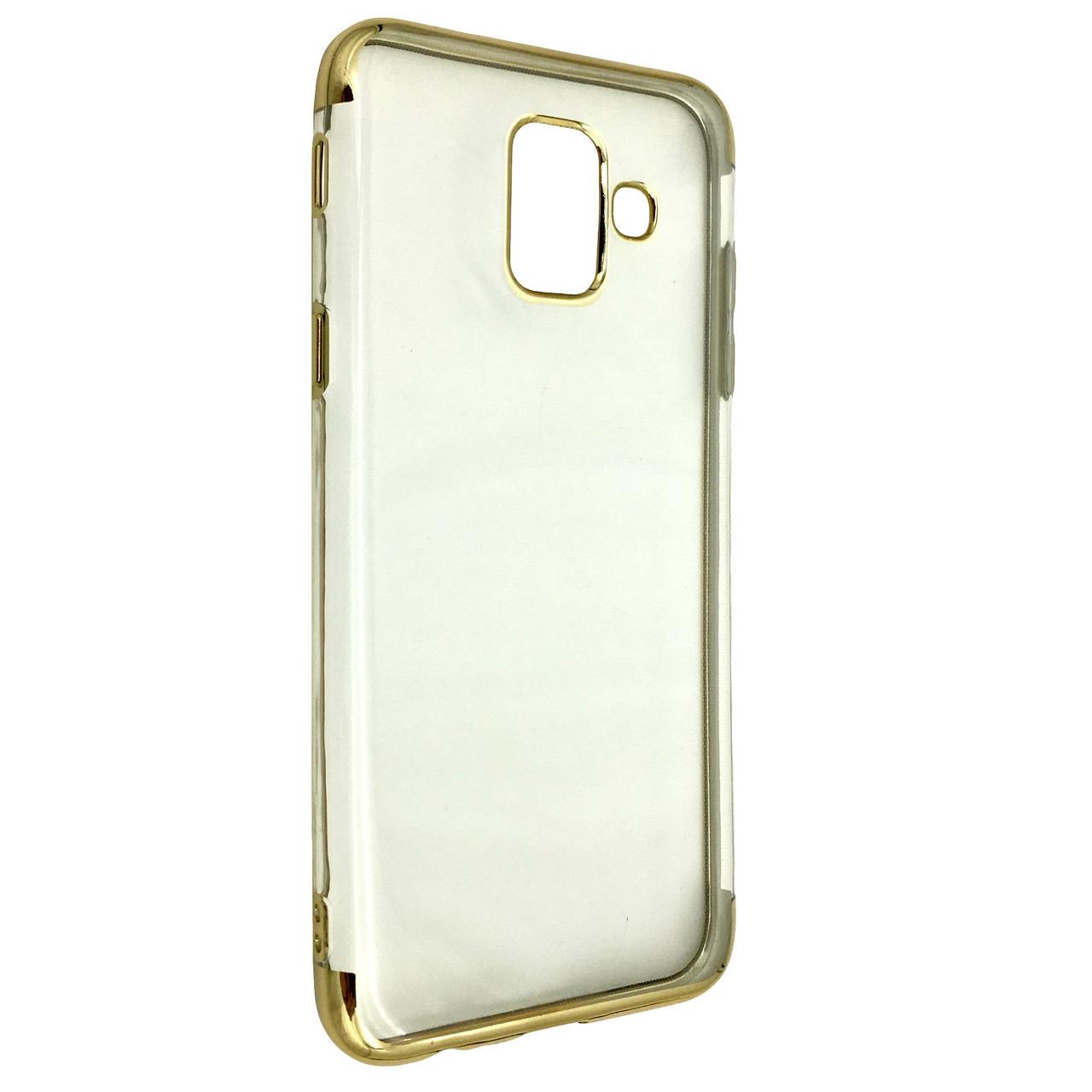 Чехол с хром бортом Edge Samsung A6 Plus (2018) (gold)