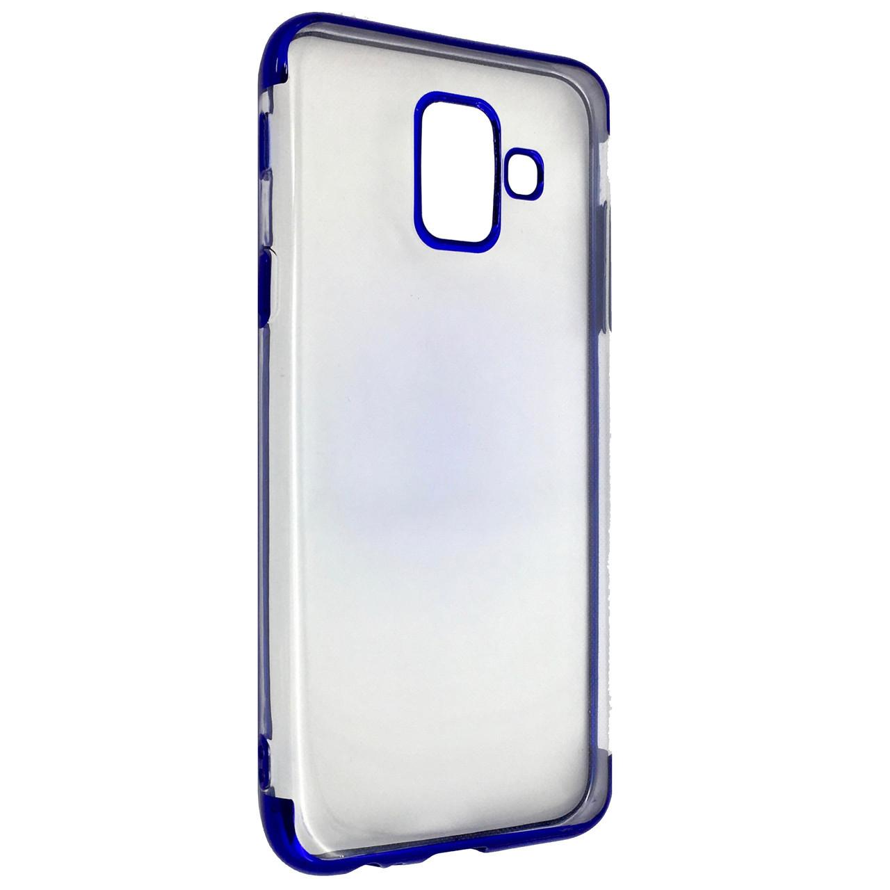 Чехол с хром бортом Edge Samsung A6 (2018) (blue)