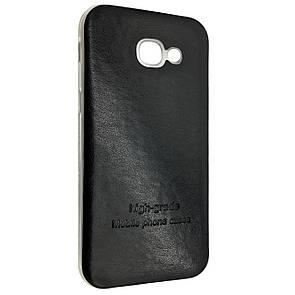 Чехол-накладка DK-Case силикон кожаная наклейка для Samsung A320 (2017) (black)