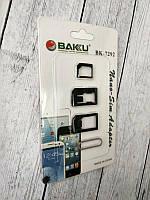 Набор переходников для симкарт BAKU BK7292 (для nano-sim, micro-sim, ключ) (W)