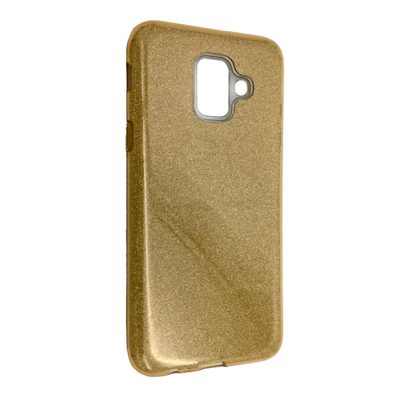 Чехол Silicone Glitter Heaven Rain Samsung J600 (2018) (gold)