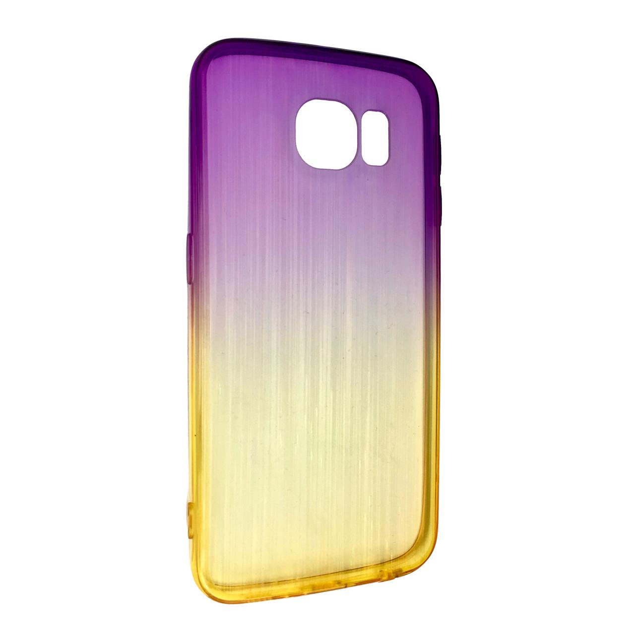 Чехол радуга градиент SAMSUNG S6 EDGE (yellow/violet)