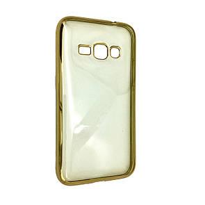Чехол с хром бортом Samsung J320 (gold)