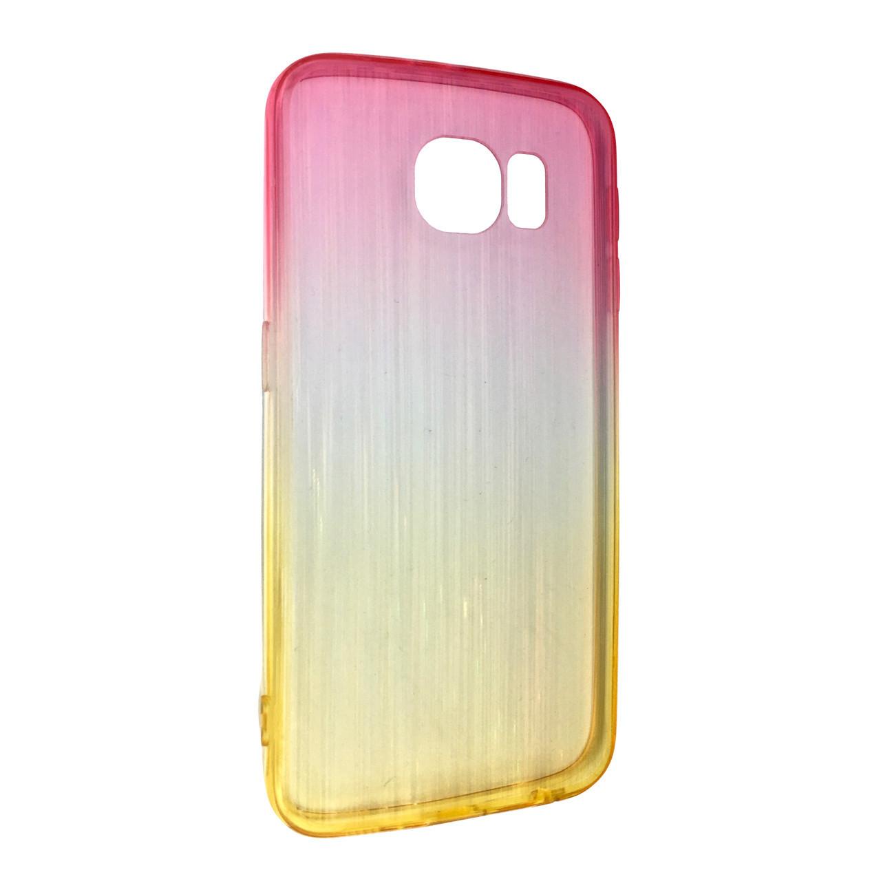 Чехол радуга градиент SAMSUNG S6 (yellow/pink)