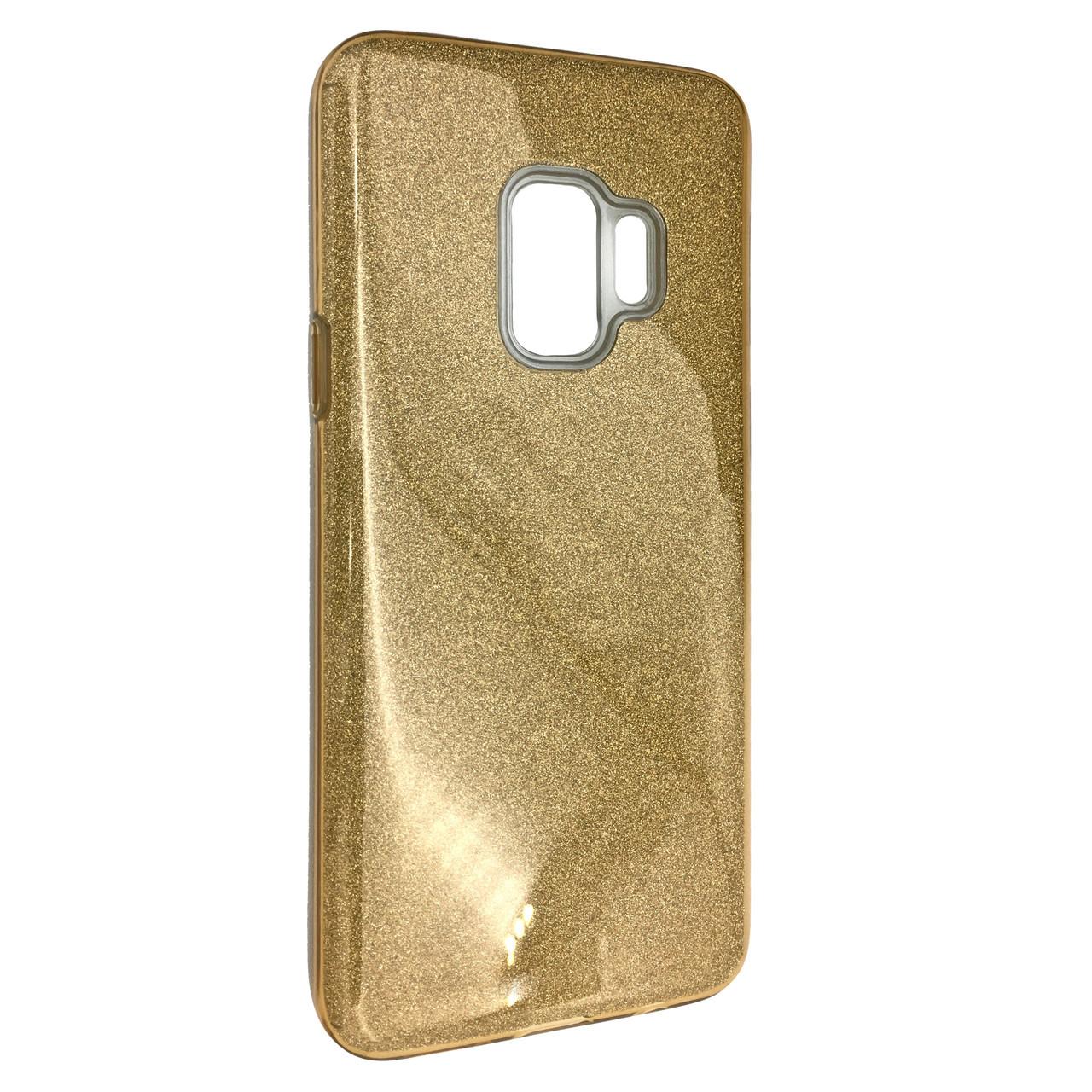 Чехол Silicone Glitter Heaven Rain Samsung S9 Plus (gold)