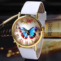 Часы женские Geneva с бабочкой белые