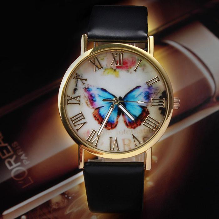 Часы женские Geneva с бабочкой черные