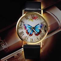 Часы женские Geneva с бабочкой черные, фото 1