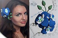 """""""Тропический бриз"""" заколка орхидея из полимерной глины"""