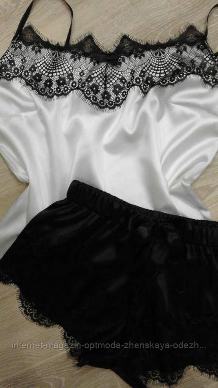 Женская атласная пижама, атлас, французское кружево, размер 44-46, 40-42, 48-50, черно-белый