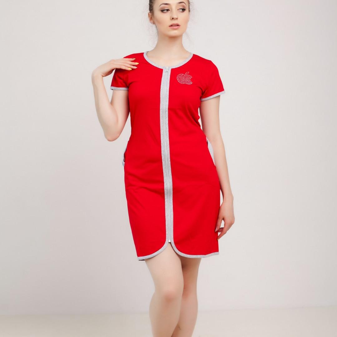 e89427122d48 Женские трикотажные халаты на молнии с пояском, с серой обшивкой