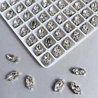 Кристаллы  LUX Маркизы (лодочки) 5х10 мм в цапах. Цвет: Кристал
