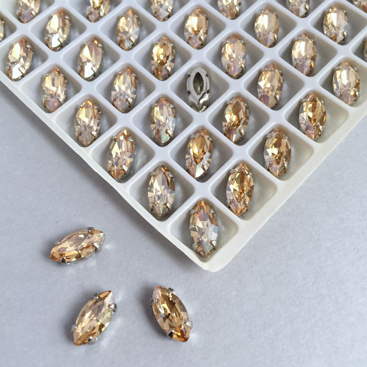 Кристали LUX. Маркізи (маркизы) 5х10 мм. Топаз (топаз). Стрази в цапах (срібло)