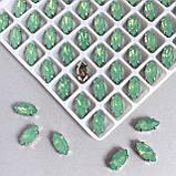 Кристали LUX в оправі. Маркізи 5х10 мм. Салатовий опал. Колір оправи: срібло. Ціна за 1 шт., фото 3