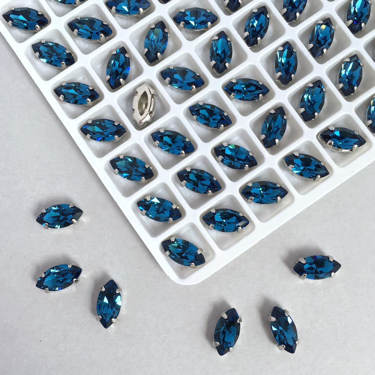 Кристаллы  LUX Маркизы (лодочки) 5х10 мм в цапах. Цвет: Монтана