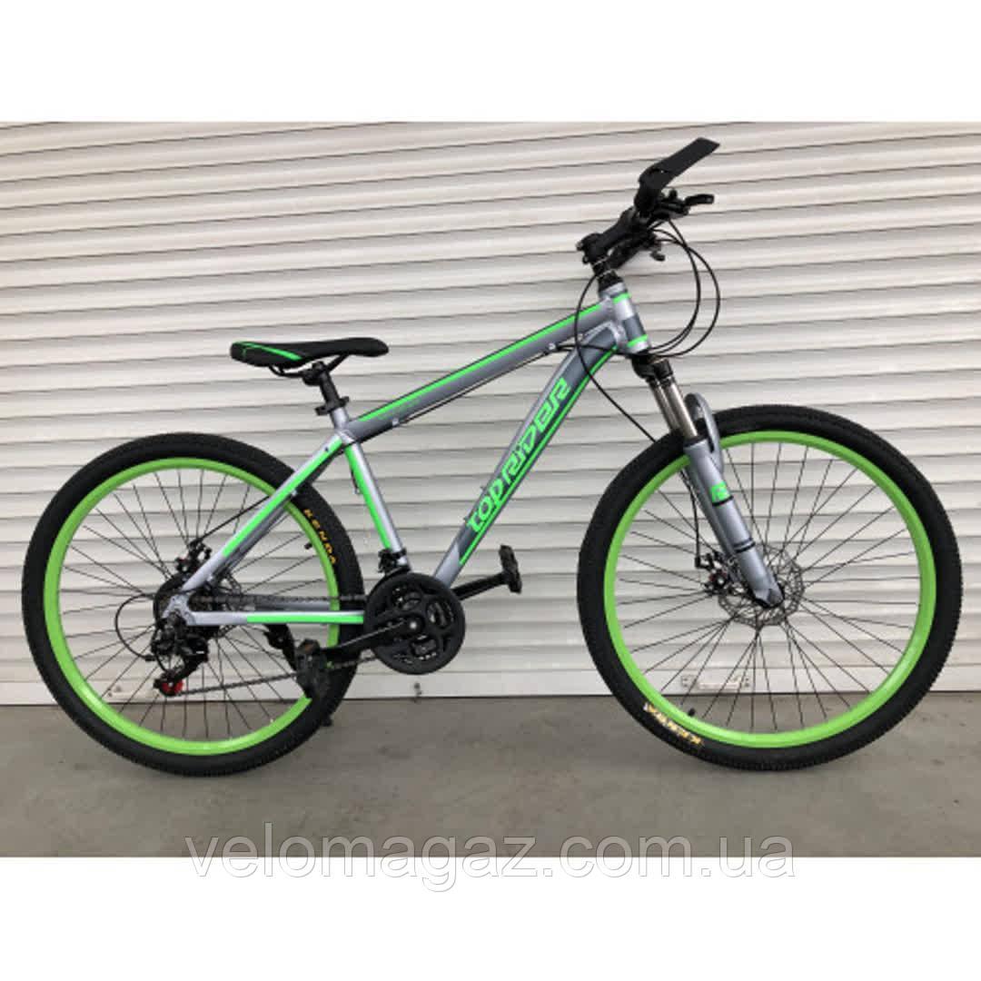 """Велосипед горный TopRider-424 29"""" алюминиевый салатовый"""