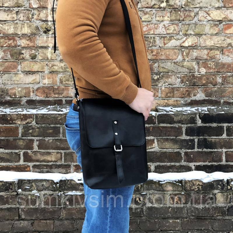 Мужская черная кожаная сумка ручной работы (шкіряна сумка) мини: 23*17*5 см
