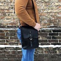 Мужская черная кожаная сумка ручной работы (шкіряна сумка) мини: 23*17*5 см, фото 1