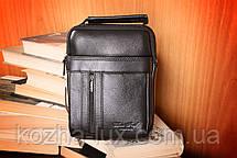 Мужская небольшая сумка, натуральная кожа, фото 3