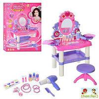 Детское игровое трюмо , детское трюмо, туалетный столик детский M 0395 U/R, фен, косметика, со стульчиком