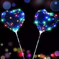 """Светодиодный шар Бобо bobo 19"""" Сердце, Воздушный светящийся на палочке с гирляндой в комплекте"""
