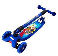 Детский трехколесный самокат Maraton Deluxe со светящимися колесами (синий)