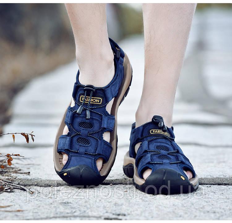 Классические мужские мягкие сандалии (в наличии синие, размер 45/46 - на стельку ок 29,5-30 см)