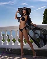 Длинная пляжная туника из шифона черного цвета