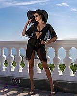 Пляжна шифонова туніка на літо чорного кольору, фото 1