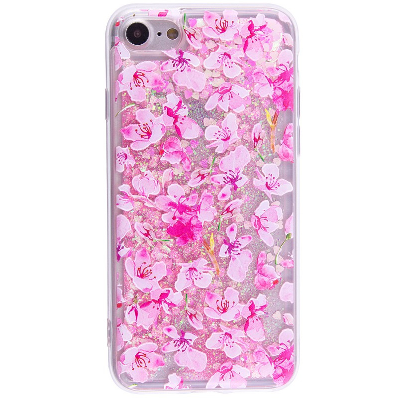 "TPU+PC чехол Liquid (glitter) для Apple iPhone 7 / 8 (4.7"") (6) Светло розовый цветы"