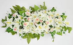 Ладья роза с лилией  с росой 130 см 4 расцветоки