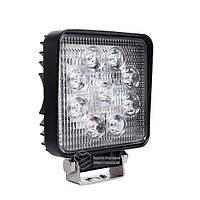 LED фара квадратная 27W, 9 ламп, узкий луч 10/30V 6000K, фото 1