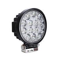 LED фара круглая 42W, 14 ламп, узкий луч 10/30V 6000K, фото 1